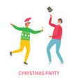 christmas party men joy and celebration vector image