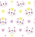 Cute Hand Drawn Cat with Crown Seamless Pattern vector image vector image