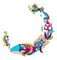 decorative frame with fishes mexican ceramic cute vector image