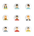 Different avatar icons set flat style vector image