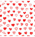 different sketch style hearts seamless pattern vector image
