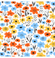 ditsy flower field seamless pattern blue vector image vector image