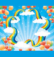 festive banner with a rainbow and balloons vector image