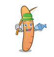 fishing baguette mascot cartoon style vector image vector image
