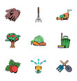 gardener icons set cartoon style vector image vector image