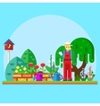 Gardener in the garden vector image vector image