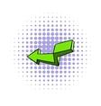 Green broken arrow icon comics style vector image vector image
