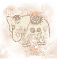 greeting beautiful card with elephant frame of vector image vector image