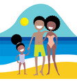 happy african american family on the beach summer vector image vector image
