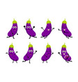 happy eggplant cartoon character vector image