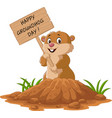 happy groundhog day funny groundhog holding woode vector image vector image