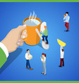 isometric business team work hand with cup of tea vector image vector image