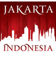 jakarta indonesia city skyline silhouette red vector image vector image