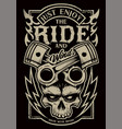 just enjoy the ride biker art vector image vector image