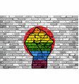 lgbt protest fist on a japan brick wall flag vector image