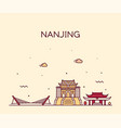 nanjing skyline jiangsu china city linear vector image