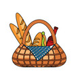 picnic basket with food vector image vector image