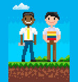 pixel people on field friends pixelated graphics vector image