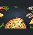 pizza realistic poster with italian food and vector image