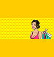 pop art girl sale shopping bag vector image