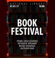 poster book festival book shelf or bookcase vector image