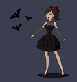 pretty girl in black gothic dress with bats vector image