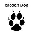 racoon dog footprint vector image vector image