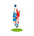 rugby player catching the ball vector image vector image