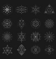 sacred geometry set on black background vector image vector image