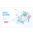 social network app isometric landing page vector image vector image