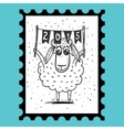 Stamp with sheep vector image vector image