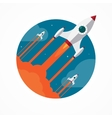 Startup concept with flying pencil rockets vector image