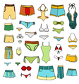 summer clothing icons vector image