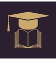 The graduation cap and book icon School and
