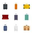travel luggage icon set flat style vector image vector image