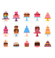 wedding or birthday pie cakes flat sweets dessert vector image