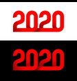 2020 new year wide red 3d ribbon style logo vector image