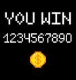8 bit you win vector image