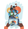 african american family take selfie on smartphone vector image
