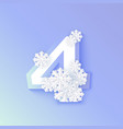 autumn four 4 number with snowflakes ice vector image
