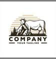 awesome vintage farm logo design vector image