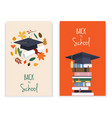 back to school card set with books graduation hat vector image vector image