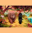 bear and black panther together in jungle vector image vector image