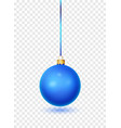 blue christmas ball with ribbon and bow realistic vector image vector image