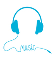 Blue headphones with cord in shape of word Music vector image vector image