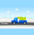 blue truck with green fir tree christmas pickup vector image