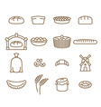 Bread linear icon set Baking Bakery products vector image vector image