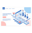 business development and growth isometric landing vector image vector image