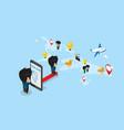 businessman enter smartphone to explore world map vector image