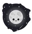 cartoon cute moon in sky full of stars vector image
